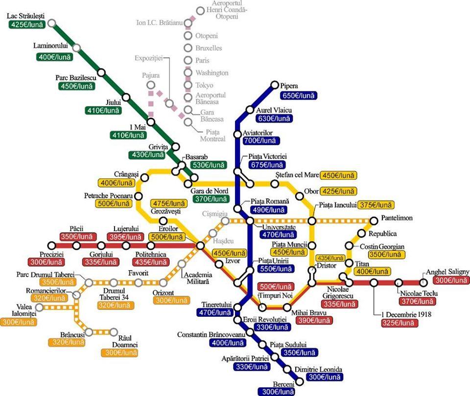 Bucharest Rent Fees Map Jan 2020
