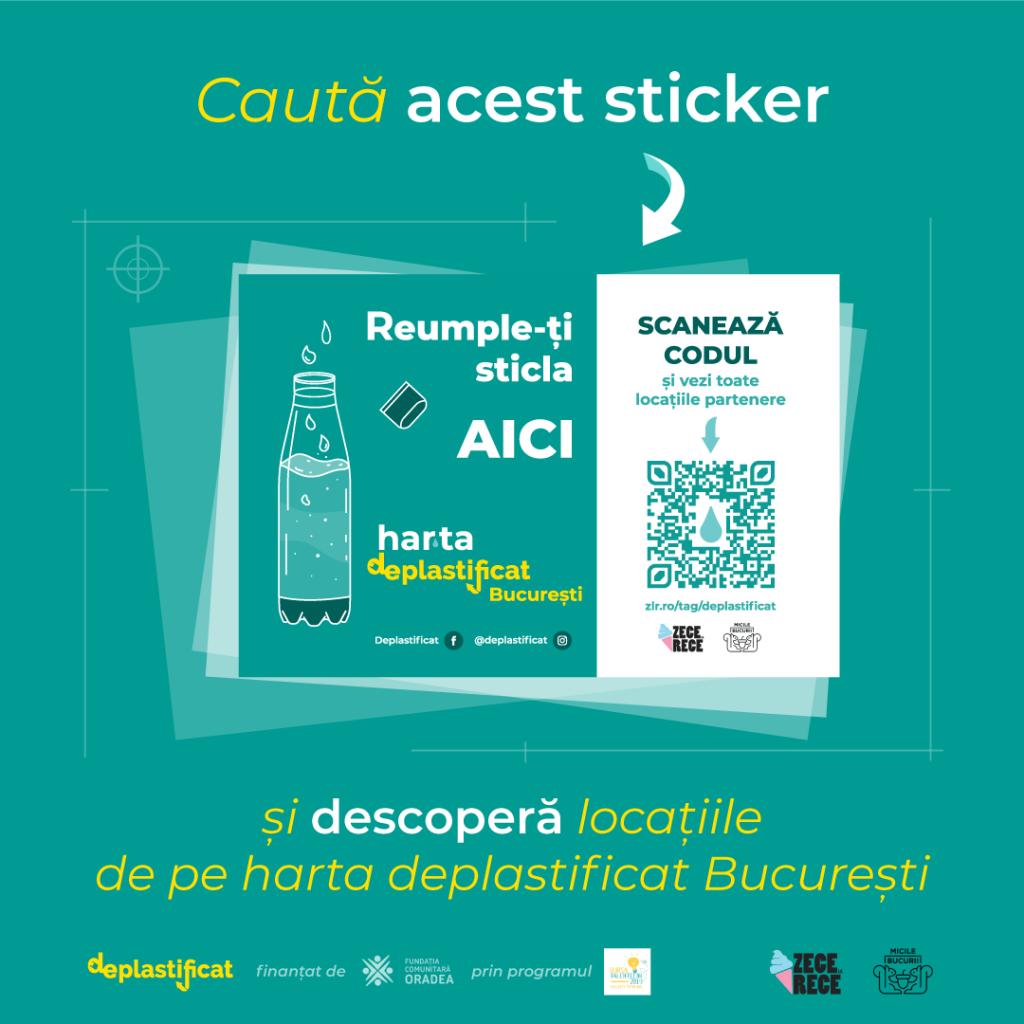 Sticker Harta deplastificat - locurile din Bucuresti unde poti bea apa neimbuteliata in plastic